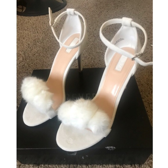 8bc99bea5b01 White Fluffy Heels